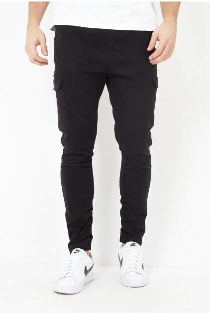 Jeans - Skinny Cargo Bottoms Black