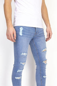Jeans - Skinny Destroyed Jeans Blue