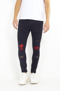Jeans - Skinny Patch Jeans Black
