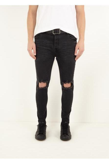 Jeans - Skinny Ripped Knee Jeans Black