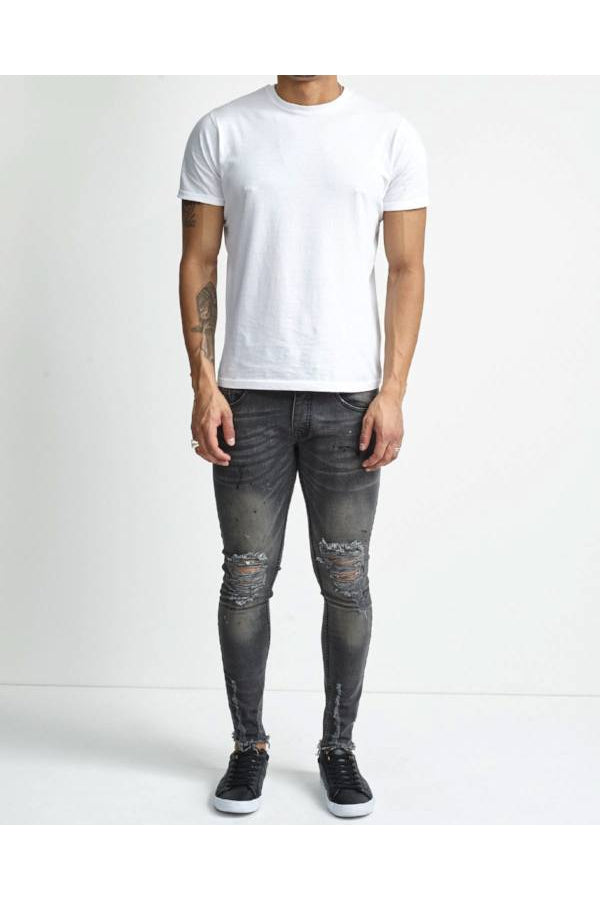 Jeans - Skinny Washed Destroyed Jeans Black