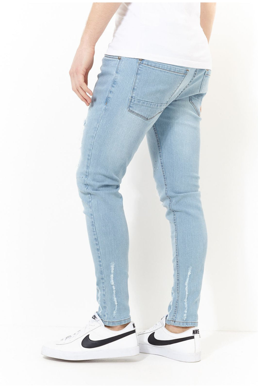 Jeans - Skinny Washed Destroyed Jeans Blue