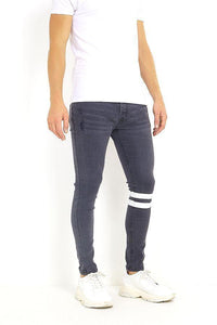 Jeans - Skinny Washed Jeans Band Black