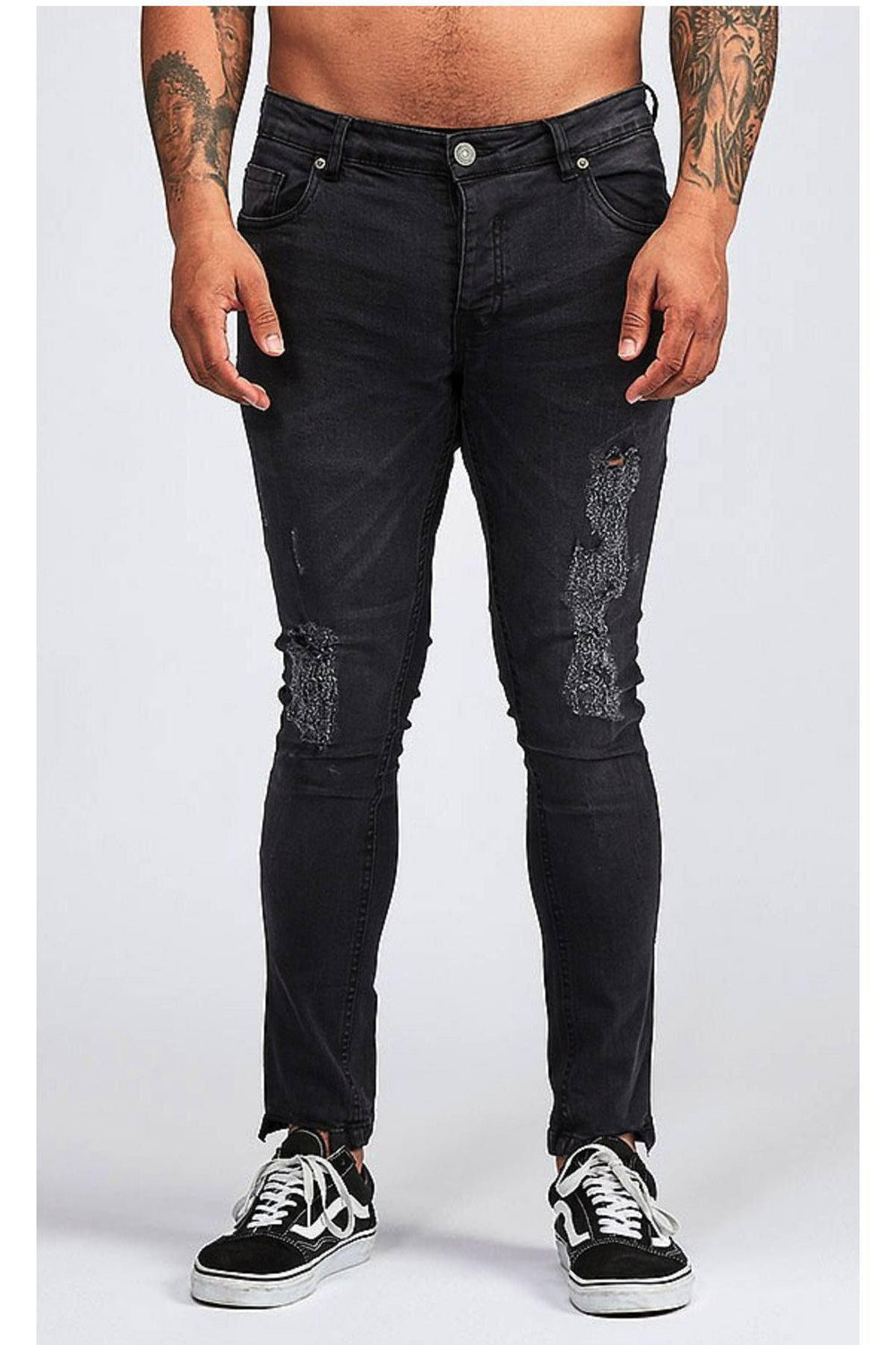 Jeans - Skinny Washed Ripped Jeans Dk Charcoal