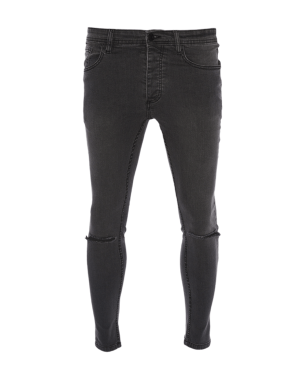 Jeans - Skinny Washed Slit Knee Jeans Black