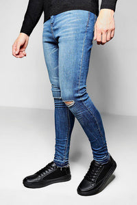 Jeans - Spray On Raw Bottom Jeans Blue