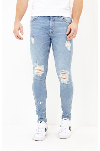 Jeans - Stretch Skinny Destroyed Jeans Blue