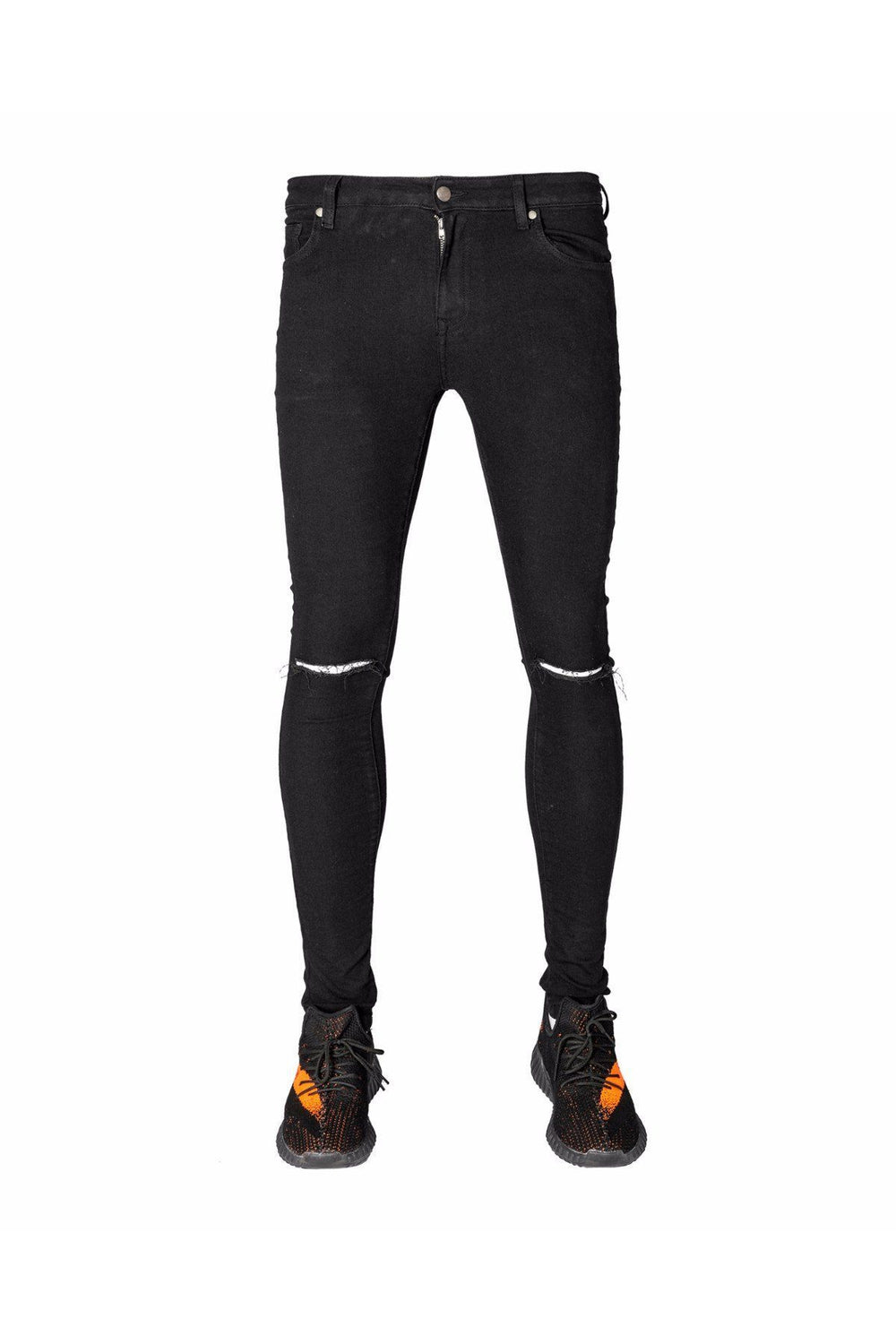 Jeans - YOLC. Skinny Ripped Knee Jeans Black