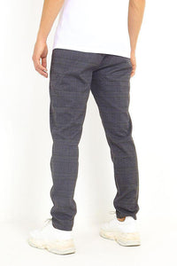Jersey - Skinny Check Trousers Charcoal Grey