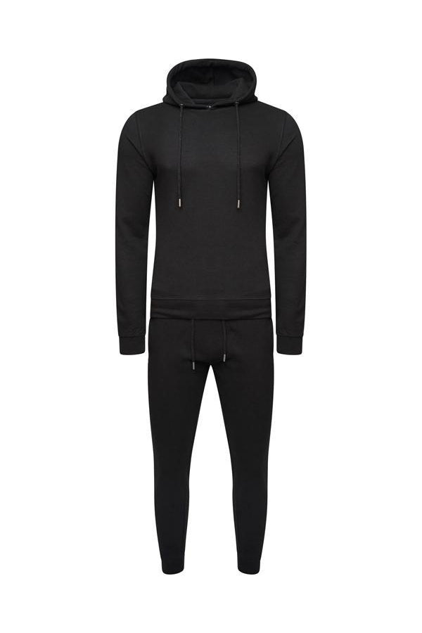 Jersey - Skinny Hooded Tracksuit Black