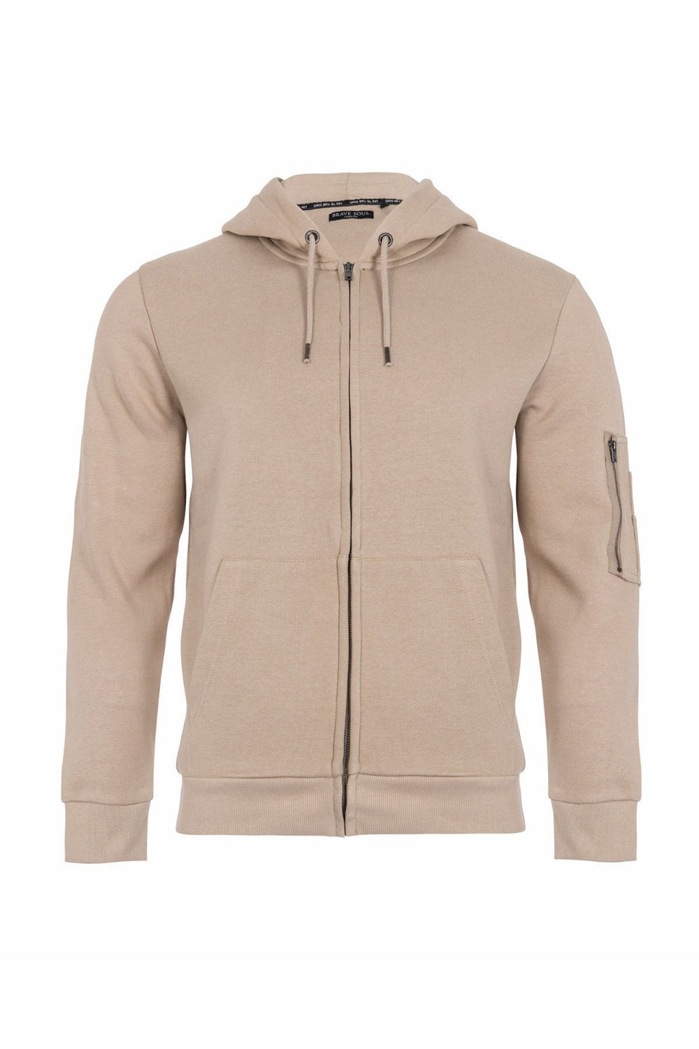 Jersey - Zipped Sleeve Hoodie Light Khaki