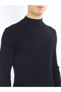 Knitwear - 0 Muscle Fit Ribbed Turtle Knit Black