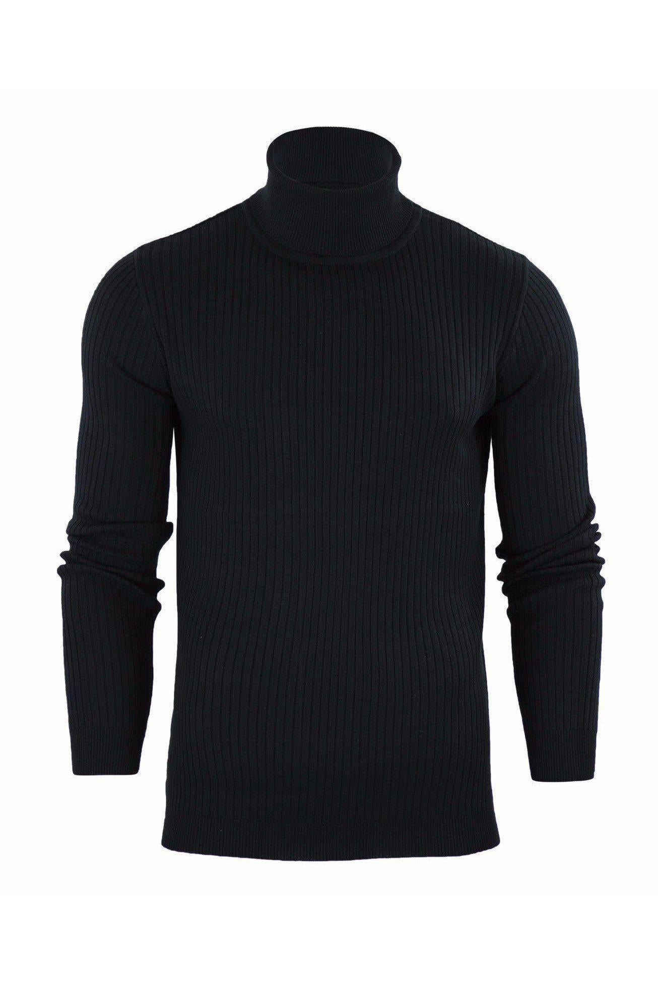 Knitwear - 0 Ribbed Roll Neck Lightweight Knit Black