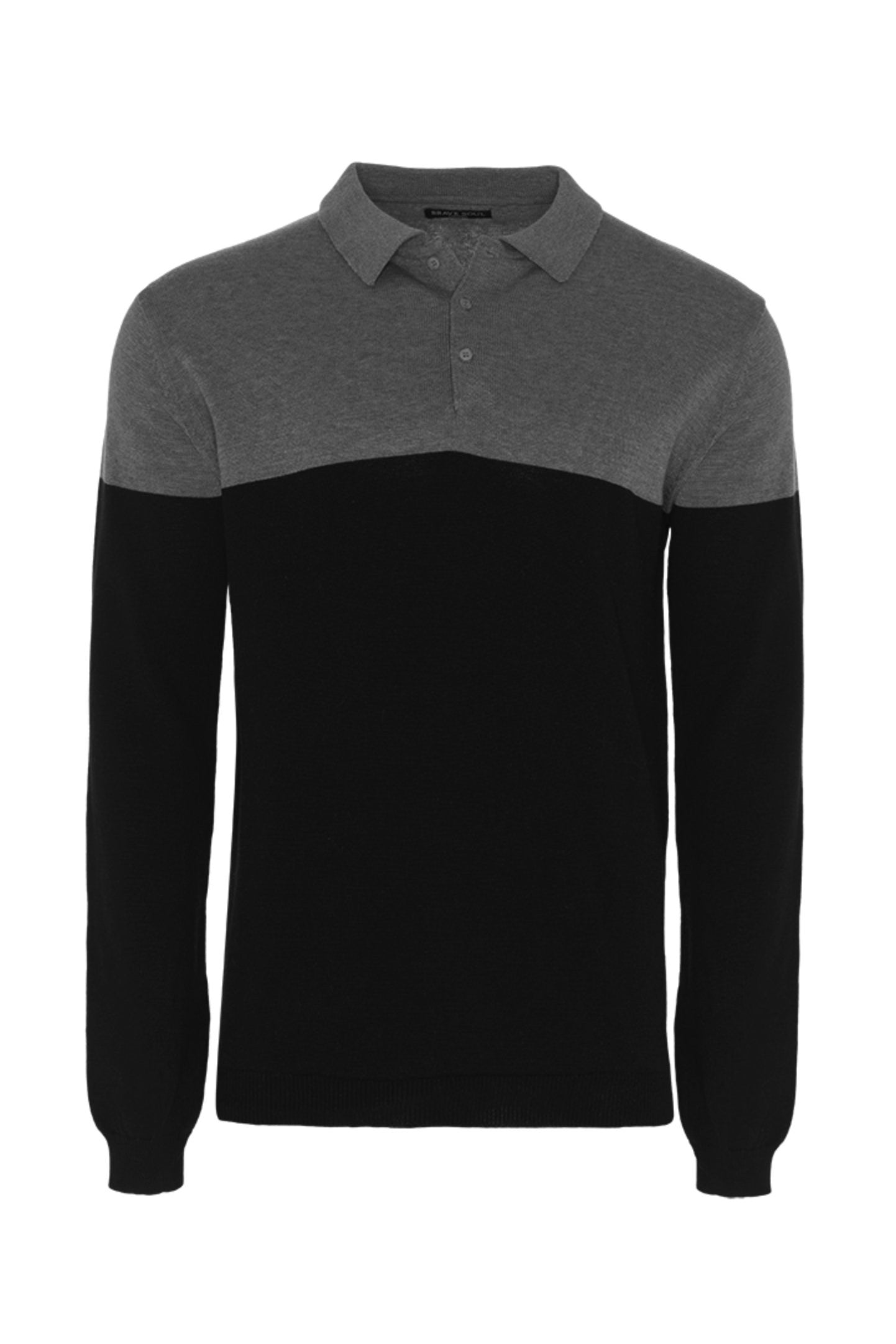 Knitwear - Contrast Knitted Polo Long Sleeve Grey Black