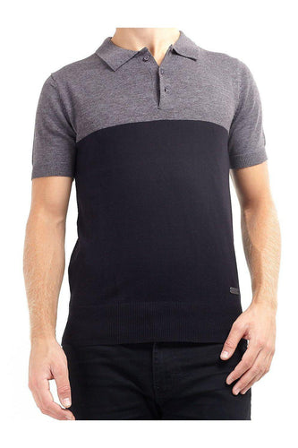 Knitwear - Contrast Knitted Polo Short Sleeve Charcoal Black