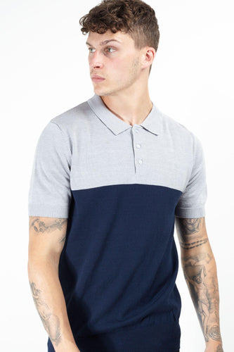 Knitwear - Contrast Knitted Polo Short Sleeve Grey Navy