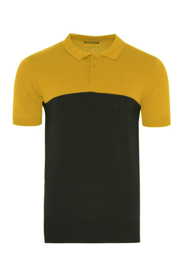 Knitwear - Contrast Knitted Polo Short Sleeve Mustard