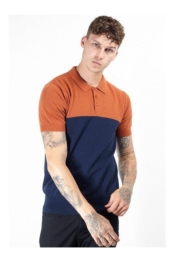 Knitwear - Contrast Knitted Polo Short Sleeve Rust