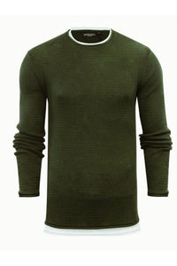 Knitwear - Crew Jumper Khaki Layer