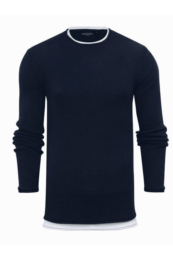 Knitwear - Crew Jumper Navy Layer