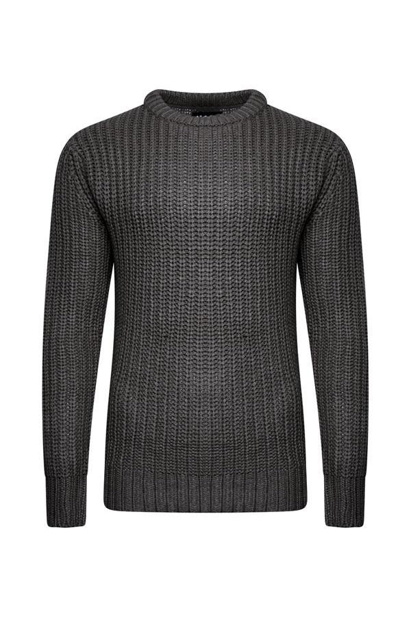 Knitwear - Fisherman Jumper Charcoal