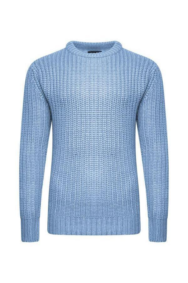 Knitwear - Fisherman Jumper Dusty Blue