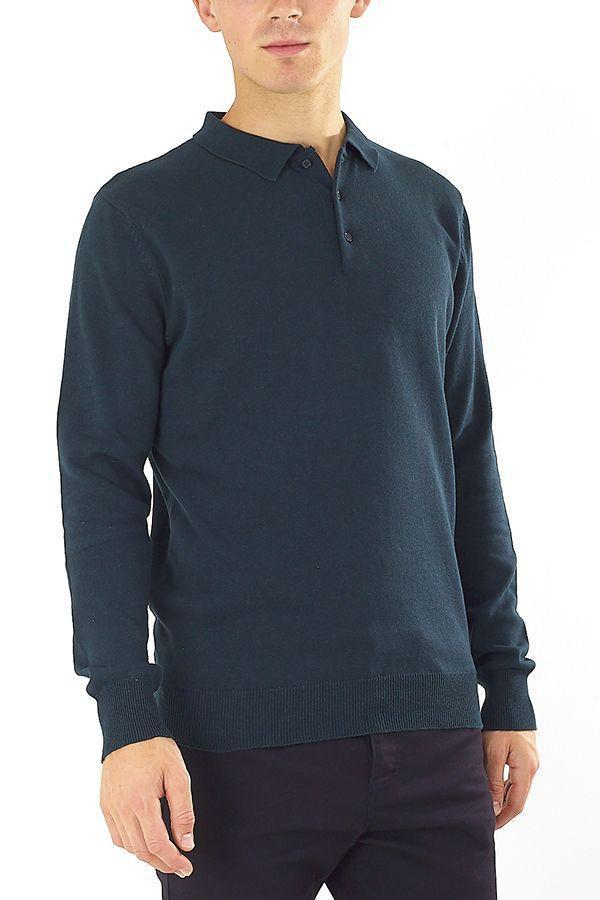 Knitwear - Knitted Polo Long Sleeve Bottle Green