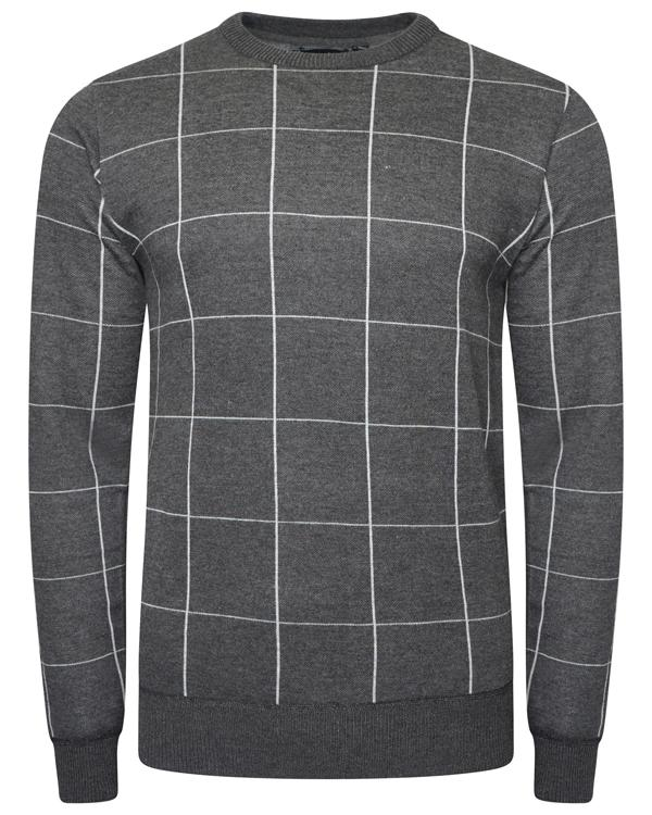 Knitwear - Lightweight Check Jumper Grey