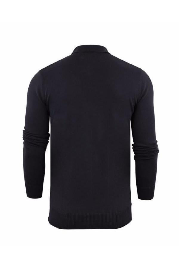 Knitwear - Lightweight Knitted Polo Long Sleeve Black