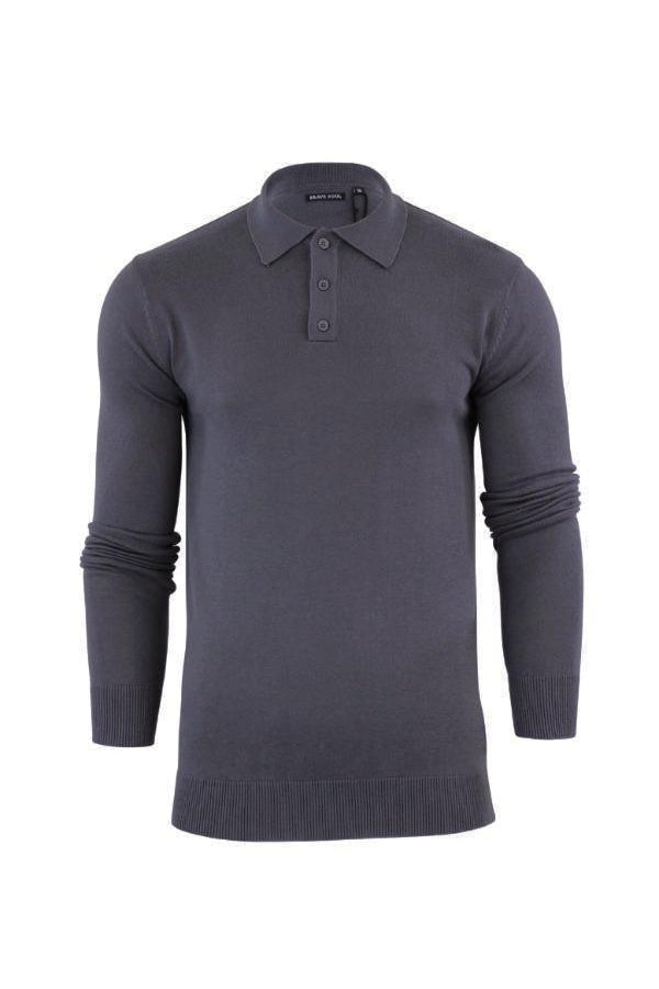 Knitwear - Lightweight Knitted Polo Long Sleeve Charcoal