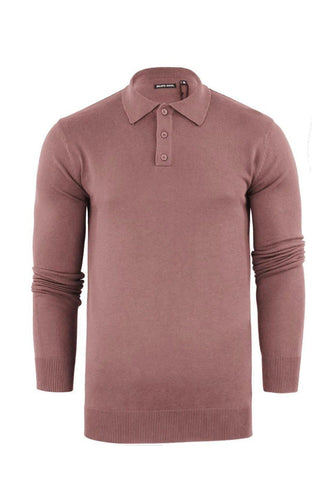 Knitwear - Lightweight Knitted Polo Long Sleeve Dusty Pink