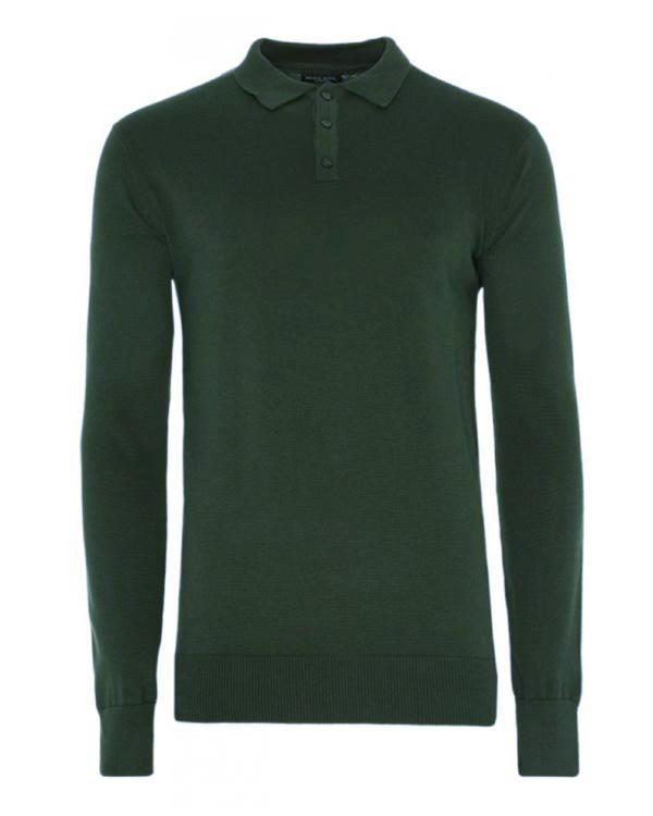 Knitwear - Lightweight Knitted Polo Long Sleeve Green