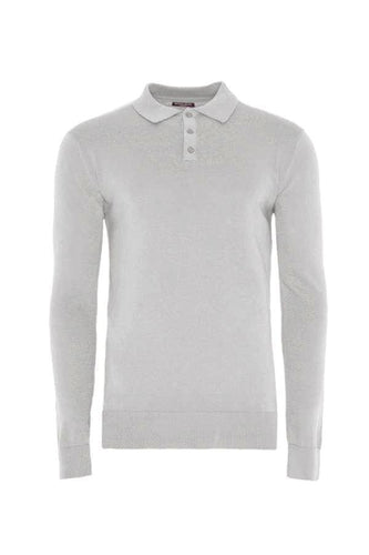 Knitwear - Lightweight Knitted Polo Long Sleeve Grey Marl