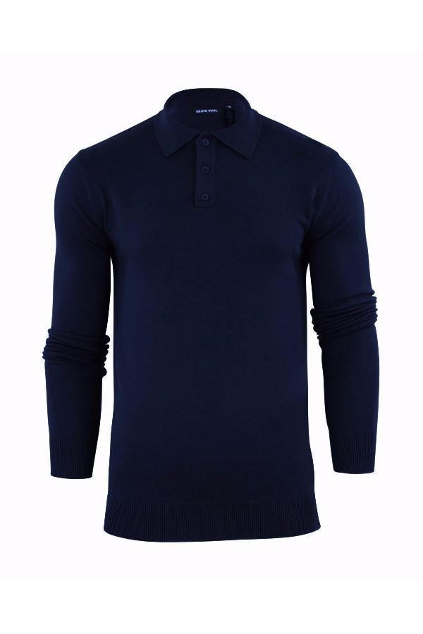Knitwear - Lightweight Knitted Polo Long Sleeve Navy