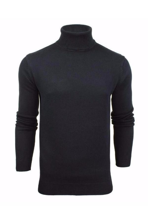 Knitwear - Lightweight Roll Neck Knit Navy