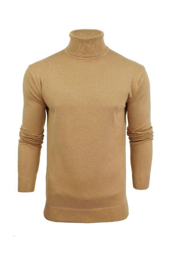 Knitwear - Lightweight Roll Neck Knit Tan