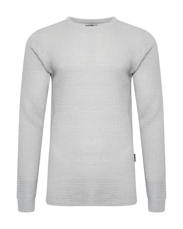 Knitwear - Longline Fisherman Jumper Grey