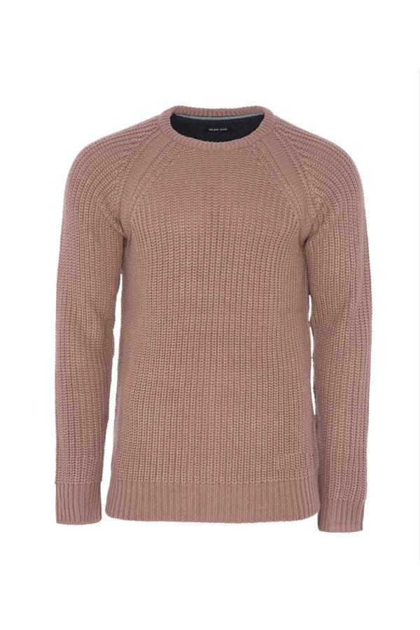 Knitwear - Mediumweight Fisherman Jumper Dusty Pink