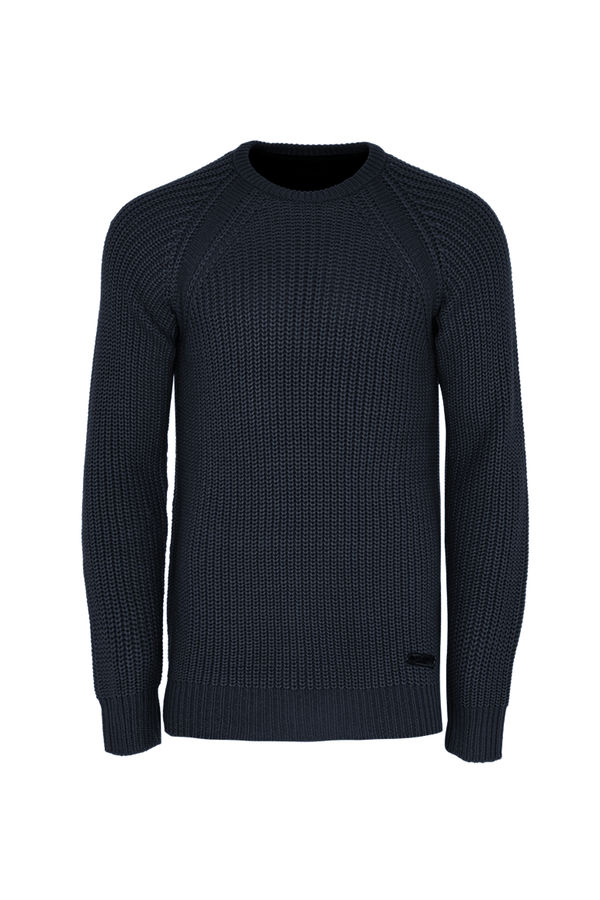 Knitwear - Mediumweight Fisherman Jumper Navy