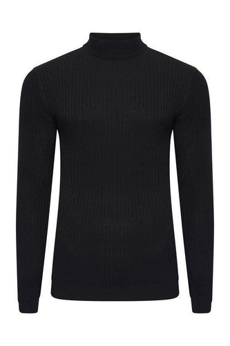 Knitwear - Muscle Fit Ribbed Turtle Knit Black