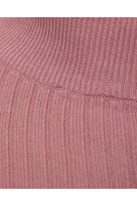 Knitwear - Muscle Fit Ribbed Turtle Knit Pink