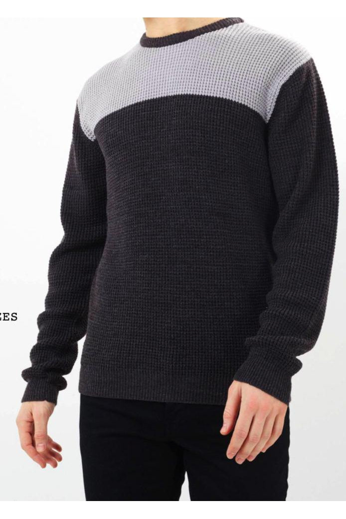 Knitwear - Panel Fisherman Jumper Charcoal