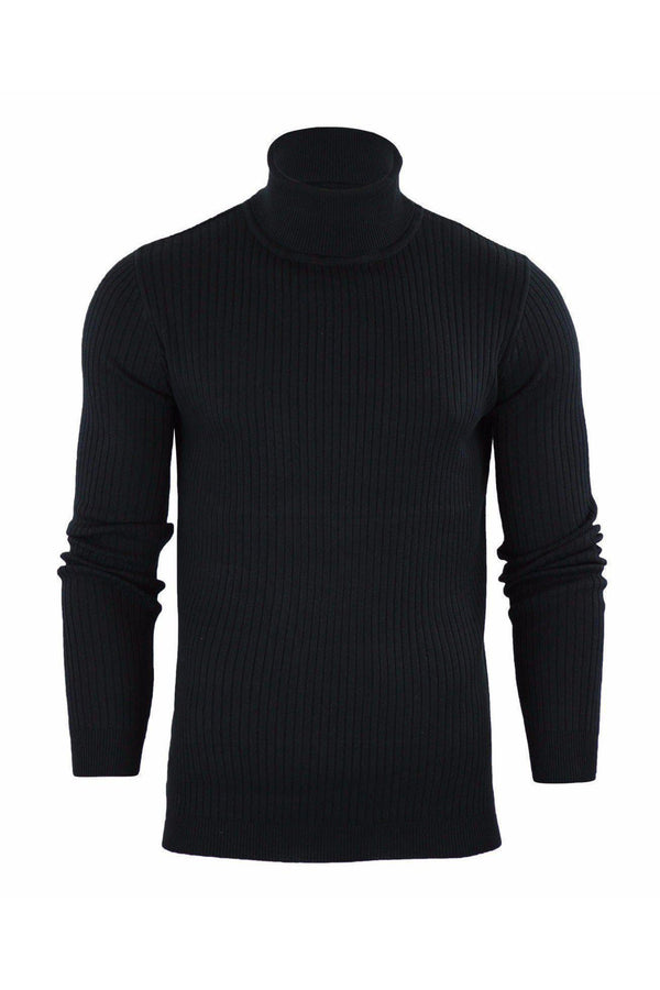 Knitwear - Ribbed Roll Neck Lightweight Knit Black