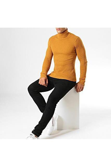 Knitwear - Ribbed Roll Neck Lightweight Knit Camel