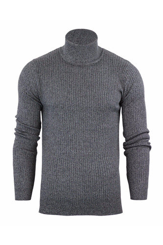 Knitwear - Ribbed Roll Neck Lightweight Knit Grey Marl