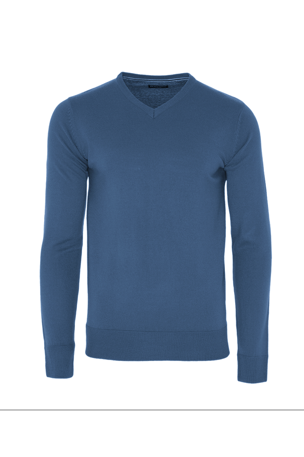 Knitwear - V Neck Lightweight Knit Blue