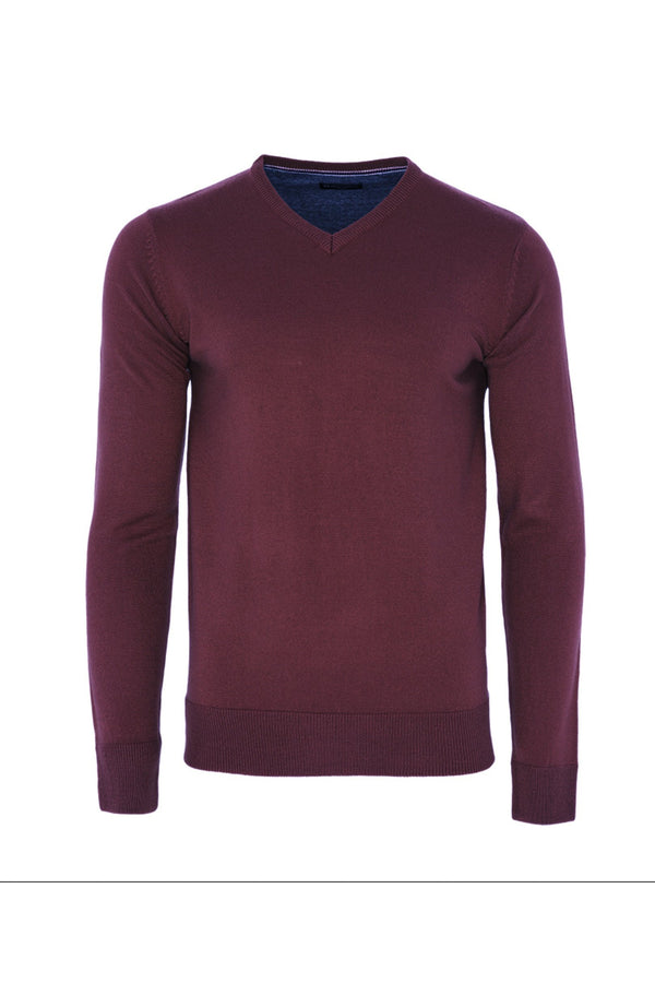 Knitwear - V Neck Lightweight Knit Burgundy