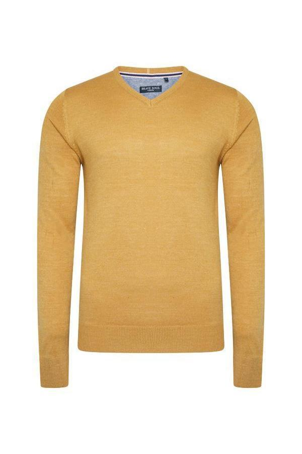 Knitwear - V Neck Lightweight Knit Mustard