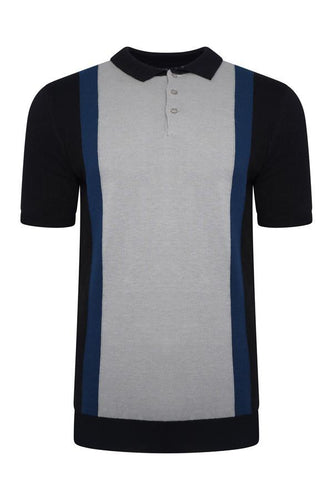 Knitwear - Vertical Knitted Polo Short Sleeve Black/ Grey