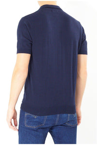 Knitwear - Vertical Knitted Polo Short Sleeve Navy
